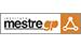 logo do mestre gp. A palavra mestre em caixa baixa em preto e gp em laranja, também em caixa baixa. Palavras envolvidas por um retângulo de fundo branco e contorno preto. Depois do p uma triângulo com contorno branco e fundo laranja.