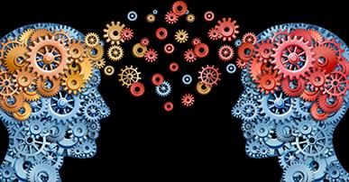 Imagem de dois rostos de pessoas frente a frente. Os rostos são estilizados e preenchidos com engrenagens ao invés de pele, olhos, boca e etc. A cor azul predomina. O rosto do lado esquerdo tem engrenagens laranjas mais p´roximas a área do cérebro, o do lado direito tem engrenagens vermelhas.