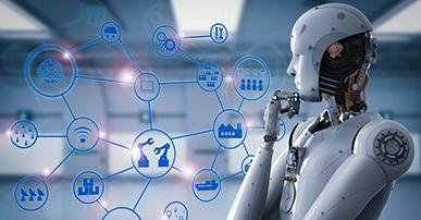 Imagem de um robô branco. Ele está de pé e com a mão direita no queixo e olha para ícones interligados em uma espécie de rede. Alguns desses ícones são: wi-fi, fábrica, globo terrestre, navio e etc.