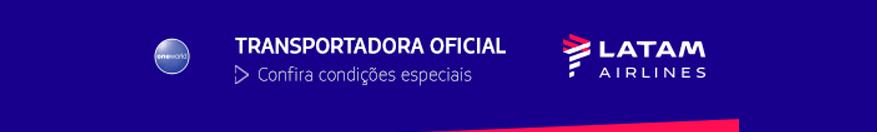 Banner informando que a LATAM é a companhia área como Transportadora oficial do evento
