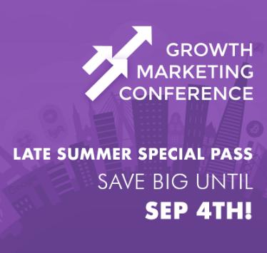 """Imagem com fundo roxo e desenhos de prédios e uma ponte ao fundo. Na imagem está escrito o nome do evento """"Growth Marketing Conference"""" e também em inglês """"Last Summer special pass, save big until sep 4 th"""""""