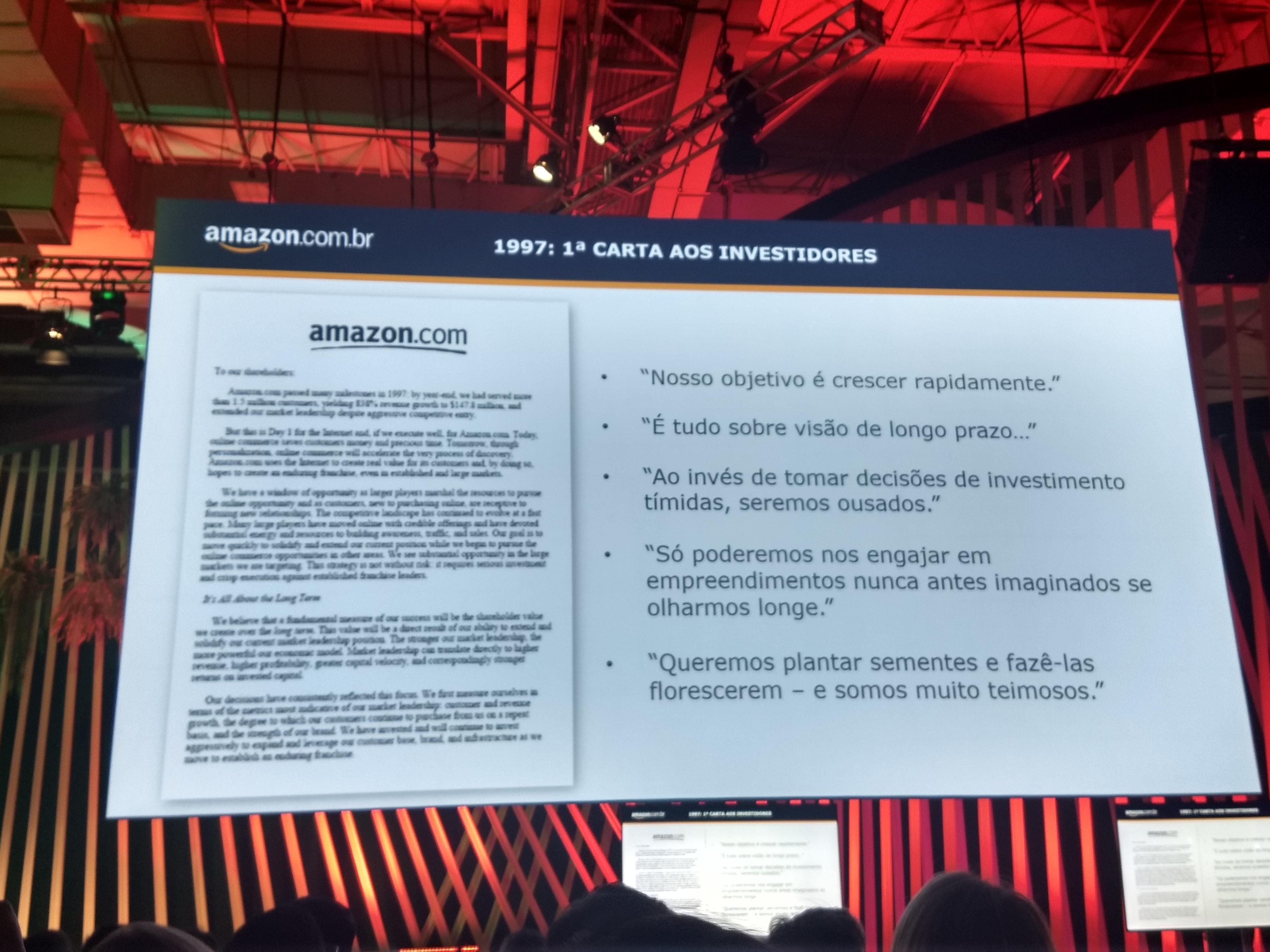 Foto da primeira carta para os investidores, escrita pelo CEO da Amazon.