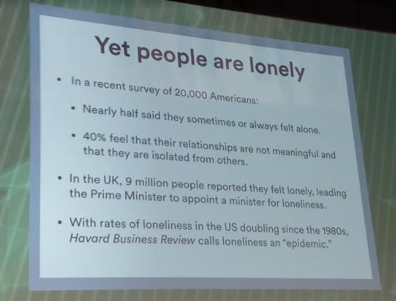 Foto de slide com dados de uma pesquisa feita nos EUA sobre a solidão das pessoas.