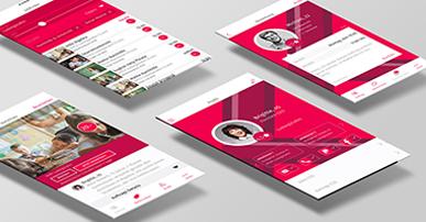 Foto. 4 telas de celular dispostas em uma mesa. Nas telas imagens de um site. Predominam as cores branca e rosa.