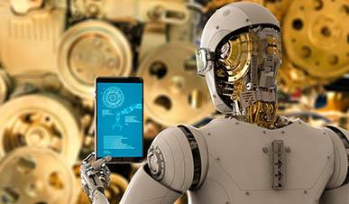 Imagem. Robô de cor branca que imita um humano está de costas. Ele segura um tablet. Atrás da cabeça dele vemos as engrenagens. Ao fundo imagem de outras engrenagens.