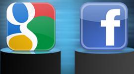 Imagem. Logo do Google e do Facebook inserido em um quadrado e em cima de um pedestal cada um.