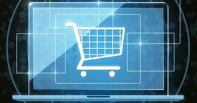 Imagem. Desenho de uma tela de computador azul com um carrinho de supermercado branco no centro da tela. O fundo da imagem é preto.