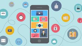 Imagem de um celular com vários aplicativos na tela. Ao redor do celular linhas tracejadas e círculo com imagens de relógio, cadeado, símbolo do play e curtir, calculadora e cesta de compras.