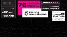 Banner: fundo preto com caixas de informação brancas e rosa com informações sobre o evento.