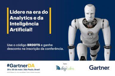 Imagem: banner com robô remetendo inteligência artificial