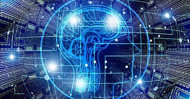 Imagem: cérebro representando tecnologia. DES 2019.