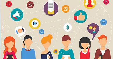 Imagem. Ícones de comunicação e pessoas em forma de desenho, algumas falam no celular outras seguram papéis.