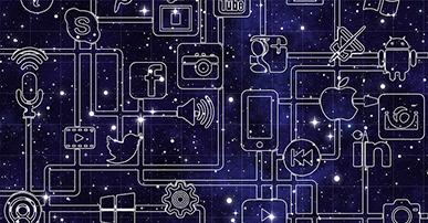 Imagem: fundo azul com logos de redes sociais conectados. tecnologias.