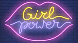 """Imagem: led em forma de boca com a frase """"girl power dentro"""". Mulheres."""