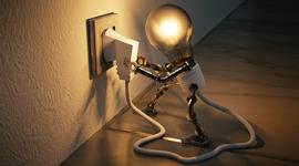 Imagem: Lâmpada robô se conectando na tomada.