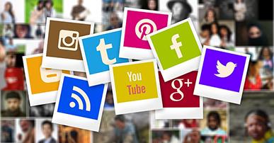 Imagem: mural com a representação de todas as redes sociais. vídeos.