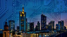 Imagem: cidade com prédios conectada. Smart Cities.