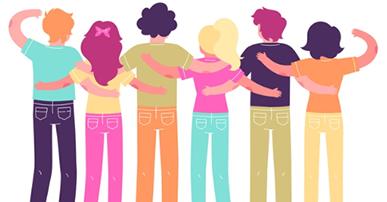 Imagem: pessoas de costas se abraçando. Inclusão digital.