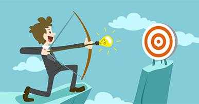 Imagem: Homem com arco e flecha, mirando e um alvo. processo de vendas.