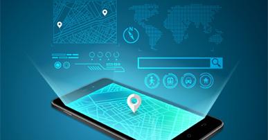 Imagem: celular com localização e gráficos. Meios de pagamento.