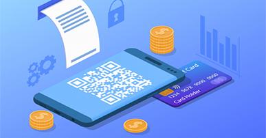 Imagem: celular com QR Code, cartão de crédco e comprovante de pagamento. Varejo.