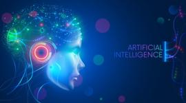 Imagem: fundo azul com cabeça de robô. Machine Learning.