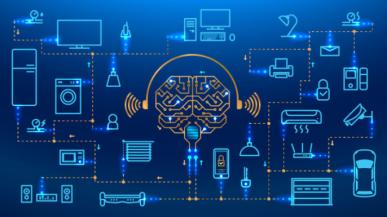 Imagem: cérebro conectado a itens tecnológicos. Gêmeos Digitais.