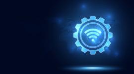 Imagem? fundo azul com luzes formando o símbolo do Wi-Fi, representando a Transformação Digital.