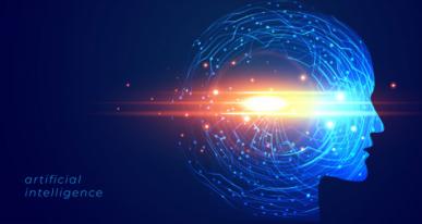 Imagem: fundo azul escuro com silhueta de uma cabeça humana iluminada e as palavras Inteligência artificial ao lado esquerdo.