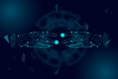 Imagem: mãos de holograma quase se tocando. disrupção digital.