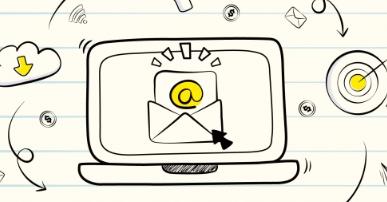 Imagem: desenho de computador com campanha de e-mail marketing.