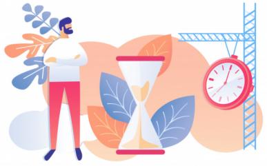 Imagem: homem ao lado de um relógio gigante e ampulheta, representando a gestão do tempo.