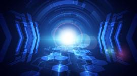 Imagem: fundo azul com luzes circulares tecnológicas. Competitividade Digital.