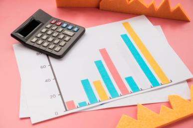 Imagem: fundo rosa com gráfico e calculadora. venda.
