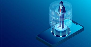 Imagem: fundo azul com celular e usuário em cima. UX.