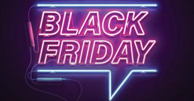 Imagem: letreiro neon com a frase Black Friday.