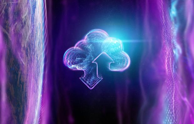 Imagem: luzes formando nuvem com simbolo de up e download.