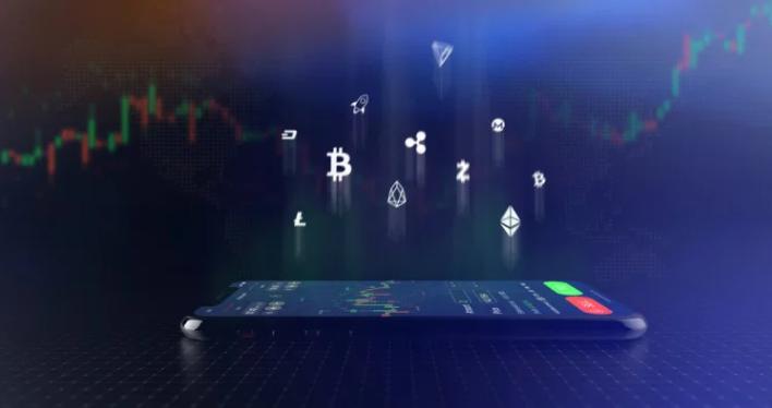 Celular com tela de day trade em criptomoedas