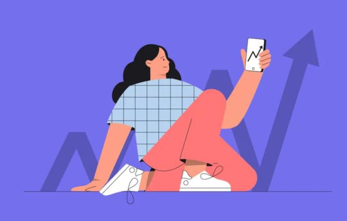 Design de mulher olhando celular com tela de investimentos