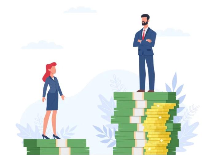 Design que representa a desigualdade financeira entre homens e mulheres