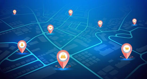 Pinos de GPS com ícones de sinal mostrando localização. blockchain.