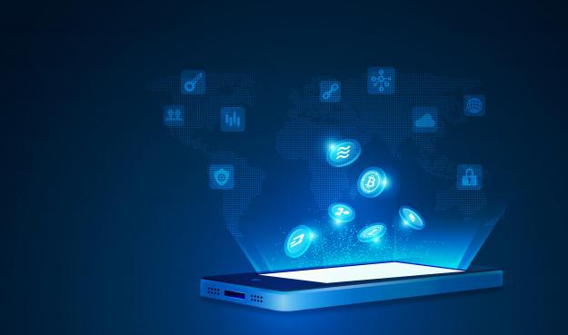 Criptomoeda e conceito de tecnologia móvel e criptocontas.
